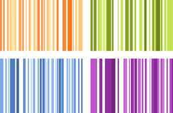 Set of four seamless bright full color stripe patterns. Vector i Royalty Free Stock Images