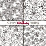 Set of four seamless Christmas patterns Stock Image