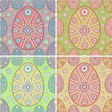 Set of four seamless easter egg. Ornamental patterns/backgrounds/textures Stock Photos