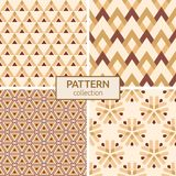 Set of four seamless fashion colorful patterns. Stock Image