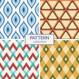Set of four seamless fashion colorful patterns. Stock Photo