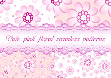 Set of four seamless floral patterns in gentle pink color Royalty Free Stock Photos