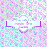 Set of four seamless floral patterns in lilac color. Violet background. Floral design. Abstract flowers. Vector illustration Stock Photography