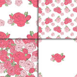 Set of four seamless floral patterns. Set of four seamless patterns. Pink roses on the white background Royalty Free Stock Images