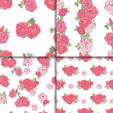 Set of four seamless floral patterns. Set of four seamless patterns. Pink roses on the white background Royalty Free Stock Image
