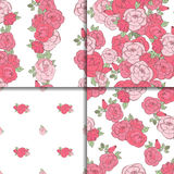 Set of four seamless floral patterns. Set of four seamless patterns. Pink roses on the white background Stock Images