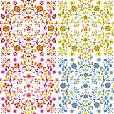 Set of four seamless floral patterns. Vector illustration Royalty Free Stock Photos