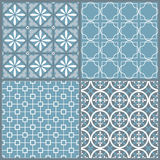 Set of four seamless geometric pattern Stock Image