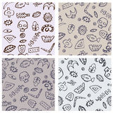 Set of four seamless hand drawn tribal pattern Stock Photography