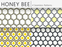 Set of Four Seamless Honeycomb Vector Patterns. Geometric Simple Background royalty free illustration
