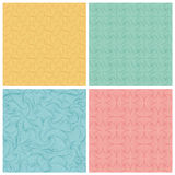 Set of four seamless lines abstract  hand-drawn pattern. Seamless pattern can be used for wallpaper, surface textures, pattern fills, web page background Royalty Free Stock Image