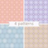 Set of Four Seamless Pattern. Stock Photo