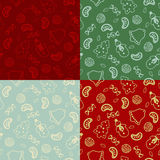 Set of four seamless pattern with Christmas food Stock Photography