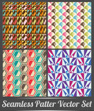 Set of four seamless pattern colorful style vector Royalty Free Stock Photos