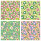 Set of four seamless pattern. Stock Image
