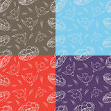 Set of four seamless pattern happy birds and nests with eggs. Hand drawing, line art Royalty Free Stock Image