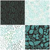 Set of Four Seamless Pattern With Leaf. Abstract leaf texture, e Royalty Free Stock Photography