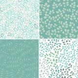 Set of Four Seamless Pattern With Leaf. Abstract leaf texture, e Stock Images