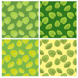 Set of Four Seamless Pattern With Leaf. Stock Image
