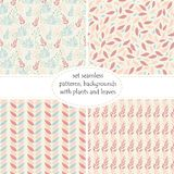 Set of four seamless pattern with leaves and branches leaves in pastel colors of pink and peach shades . Abstract leaf texture,vec. Tor illustration. You can use Royalty Free Stock Images