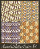 Set of four seamless pattern in retro style. Vector african pattern. available in eps Stock Photo