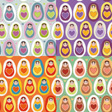 Set of four Seamless pattern Russian dolls matryoshka.  Royalty Free Stock Images