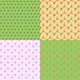 Set from four seamless pattern with small drawing. Royalty Free Stock Image