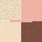 Set of four seamless pattern with sweets Stock Image