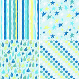 A set of four seamless patterns Stock Image