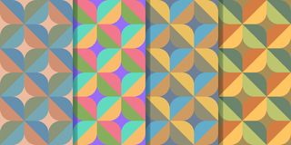 Set of four seamless patterns with abstract figures of cross-shaped structure in one style. Colorful illustration, eps10 stock illustration