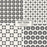 Set of four seamless patterns. Abstract geometric trendy vector backgrounds. Modern stylish textures of repeating geometric shapes, circles, smooth rhombuses Royalty Free Stock Photos