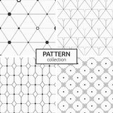 Set of four seamless patterns. Abstract geometric trendy vector backgrounds. Modern stylish textures of repeating triangles, geometric tiles, rhombuses, dots Stock Photos