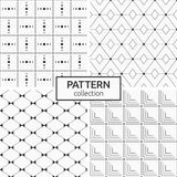 Set of four seamless patterns. Abstract geometric trendy vector backgrounds. Modern stylish textures of  rhombuses, rectangular lines, geometric squares made Stock Images