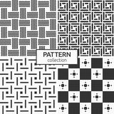Set of four seamless patterns. Abstract geometric trendy vector backgrounds. Modern stylish textures of squares and circles inside, symmetric geometric Royalty Free Stock Photos