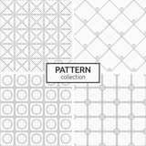 Set of four seamless patterns. Abstract geometric trendy vector backgrounds. Modern stylish textures of squares and circles, rhombuses, squares. Circles in Stock Images
