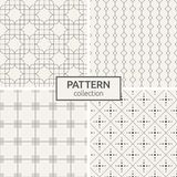Set of four seamless patterns. Abstract geometric vector backgrounds. Modern stylish textures of overlapping rounded rectangles, rhombuses, square tiles Stock Photo