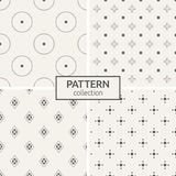 Set of four seamless patterns. Abstract geometrical trendy vector backgrounds. Linear style. Modern stylish textures with big and small dots, dotted circles Royalty Free Illustration