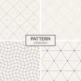 Set of four seamless patterns. Abstract geometrical trendy vector backgrounds. Linear style. Modern stylish textures with triangles, dots, wavy lines, dotted Vector Illustration