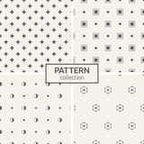 Set of four seamless patterns. Abstract geometrical trendy vector backgrounds. Modern stylish textures of repeating circles, dots, dotted circles, curved stars Royalty Free Stock Photo