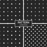 Set of four seamless patterns. Abstract geometrical trendy vector backgrounds. Modern stylish textures with repeating circles, dots, triangles, half-filled Stock Photography