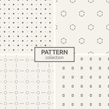 Set of four seamless patterns. Abstract geometrical trendy vector backgrounds. Modern stylish textures with repeating circles, lines, dotted circles, dots and Stock Photos