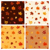 Set of four seamless patterns with autumn leaves. Vector illustration. Royalty Free Stock Image