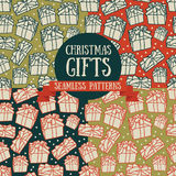 Set of four seamless patterns with christmas gifts. Vector illustration Stock Image