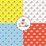 Set of four seamless patterns with cocks Stock Images