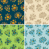 Set of four seamless patterns Stock Photo