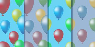 Set of four seamless patterns with colorful balloons in heaven in realistic style. Cute colorful illustration, vector eps10 vector illustration