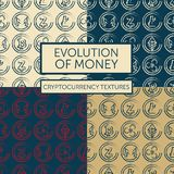 Set of four seamless patterns with cryptocurrency logotypes. In hand drawn style, vector illustration Royalty Free Stock Image