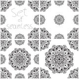 Set of four seamless patterns. With elements of mandala as east or middle east ornaments Royalty Free Stock Photos