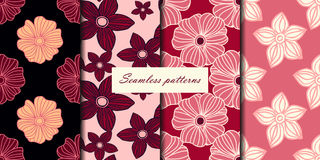 Set of four seamless patterns with flowers in pink cherry colors. Vector background Stock Photos