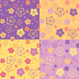 Set of four seamless patterns with flowers. Stock Image